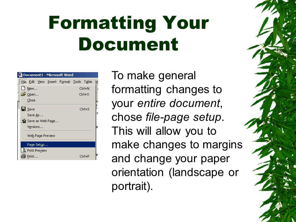 Formatting Your Document