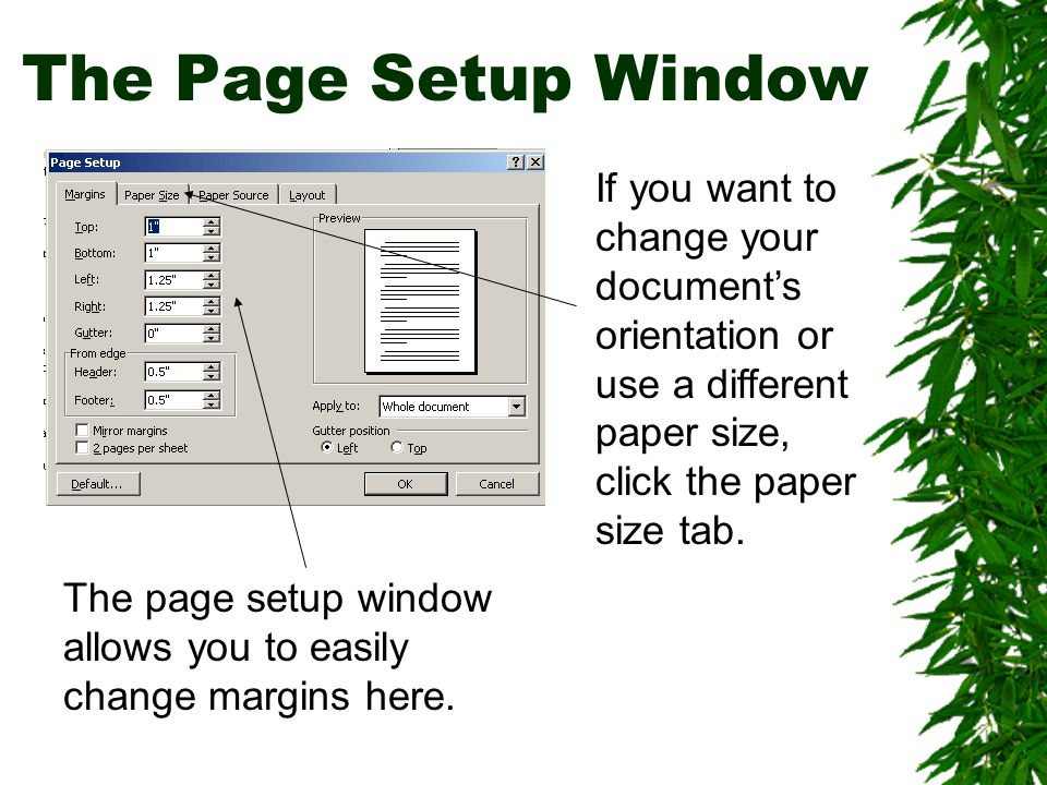 The Page Setup Window If you want to change your document's orientation or use a different paper size, click the paper size tab.