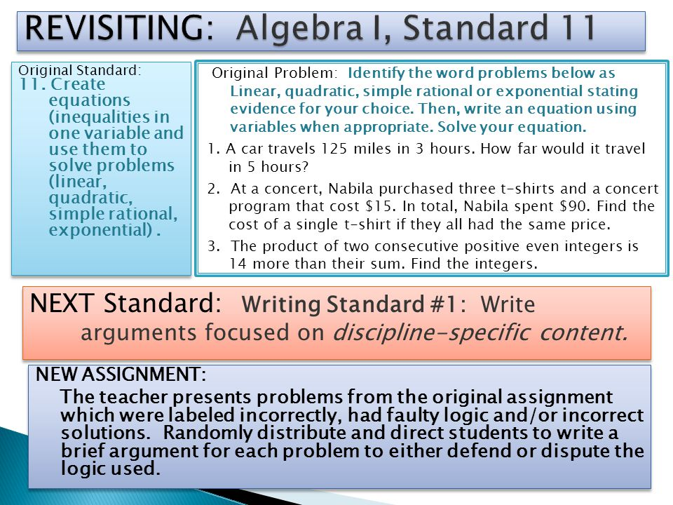 REVISITING: Algebra I, Standard 11