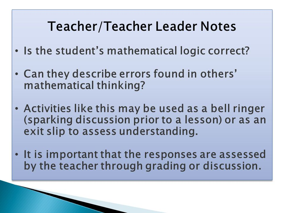 Teacher/Teacher Leader Notes