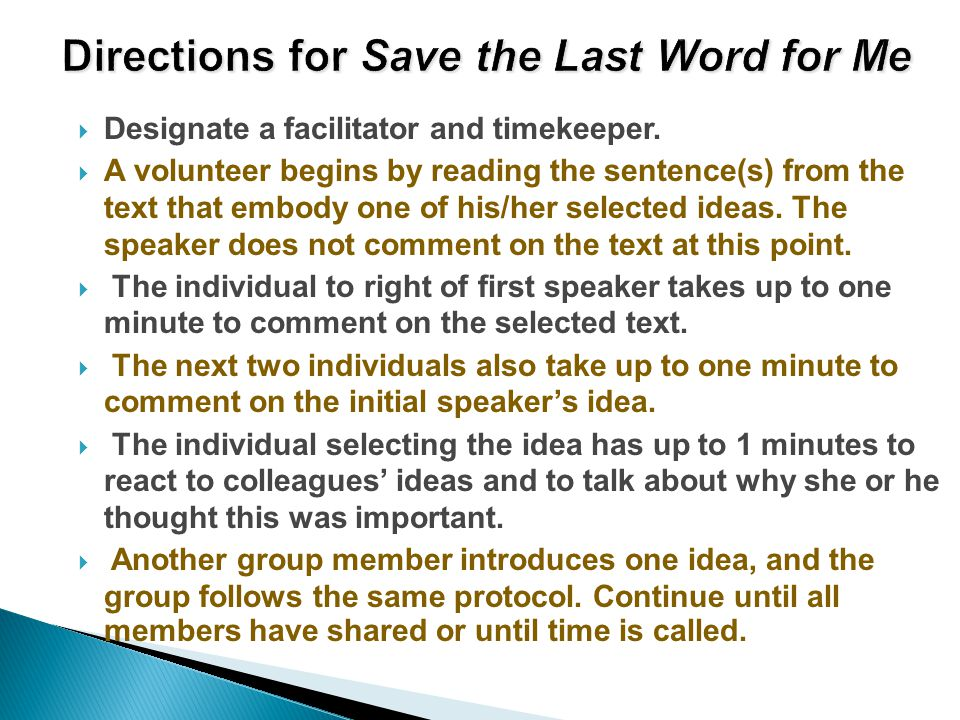 Directions for Save the Last Word for Me