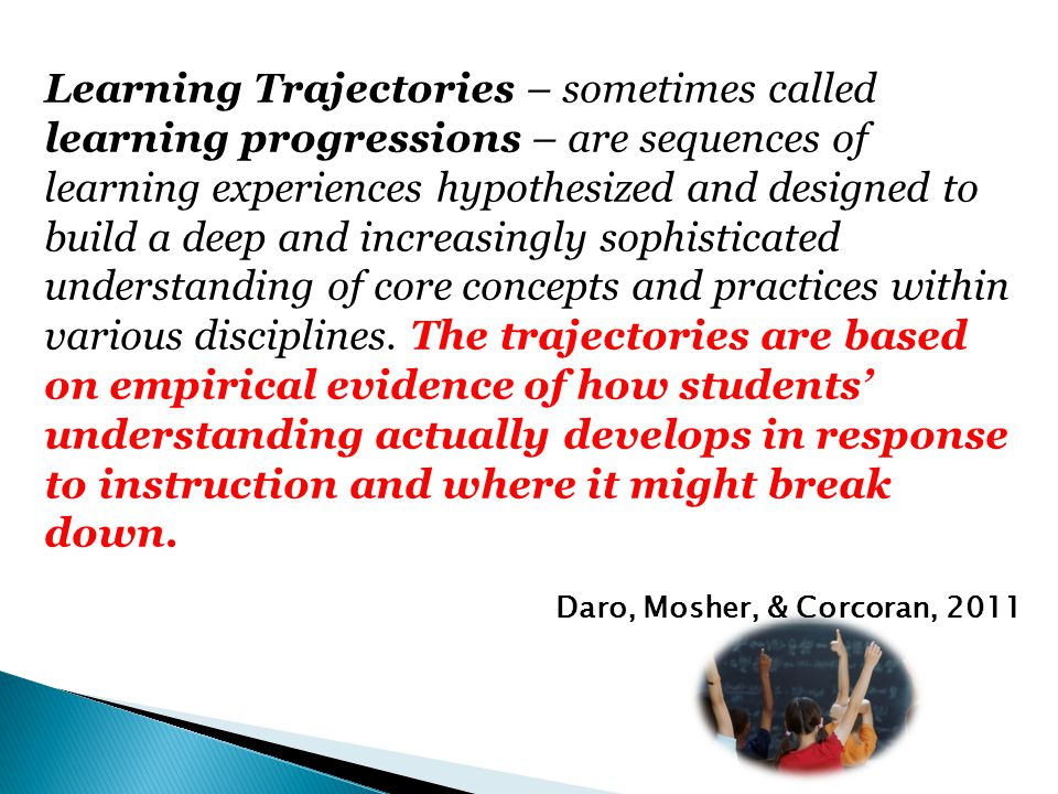 Learning Trajectories – sometimes called learning progressions – are sequences of learning experiences hypothesized and designed to build a deep and increasingly sophisticated understanding of core concepts and practices within various disciplines. The trajectories are based on empirical evidence of how students' understanding actually develops in response to instruction and where it might break down.