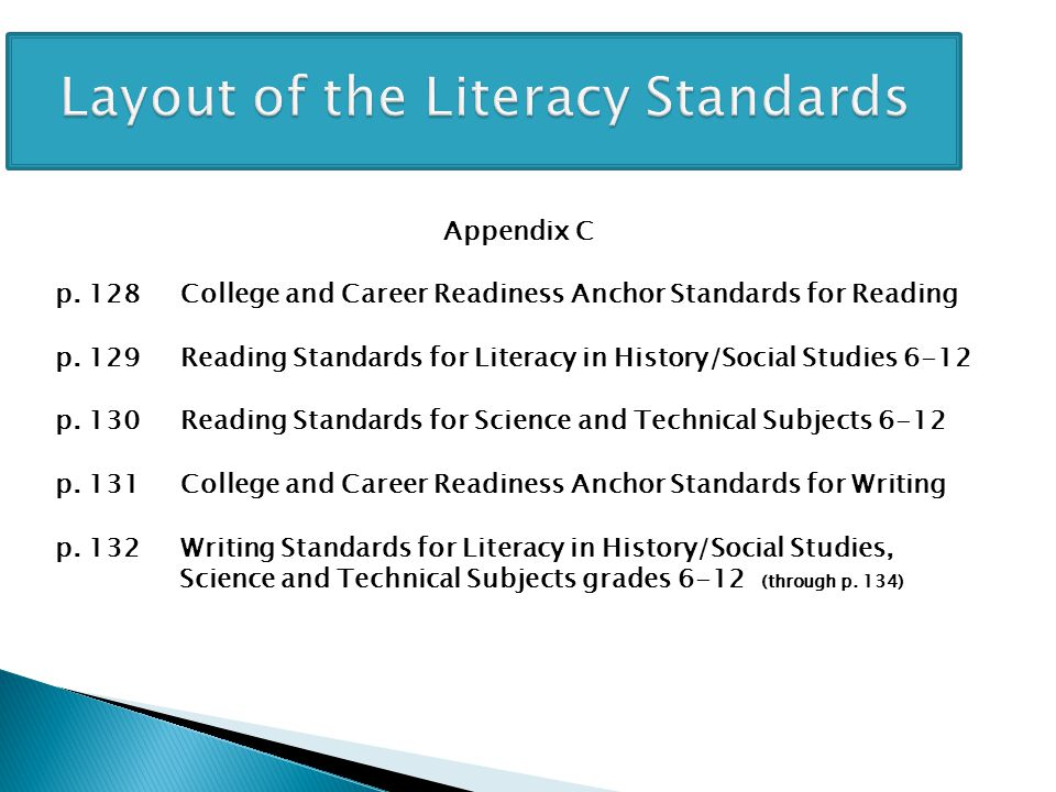 Layout of the Literacy Standards