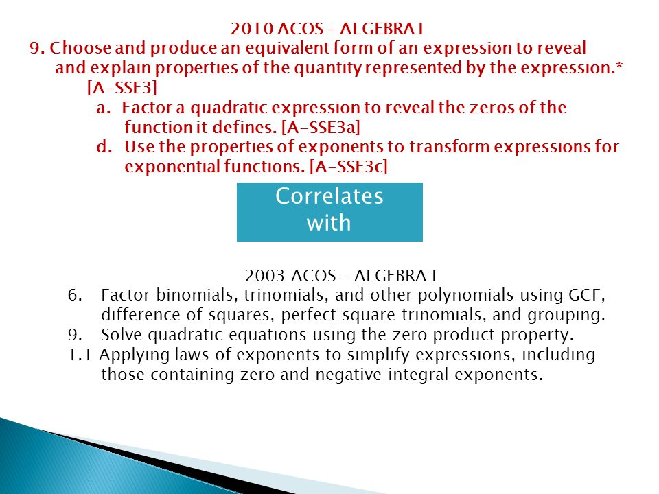 Correlates with 2010 ACOS – ALGEBRA I