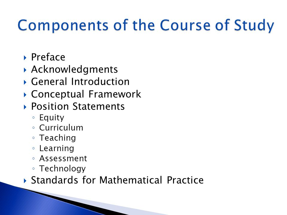 Components of the Course of Study