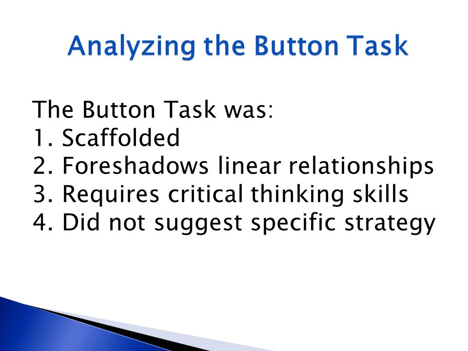 Analyzing the Button Task