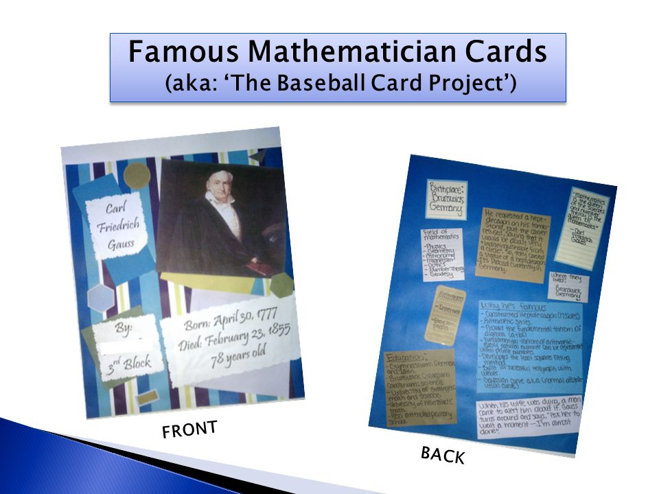 Famous Mathematician Cards (aka: 'The Baseball Card Project')