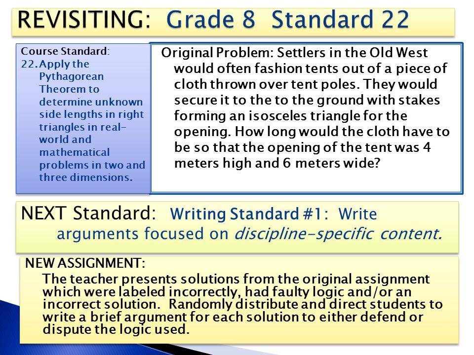 REVISITING: Grade 8 Standard 22