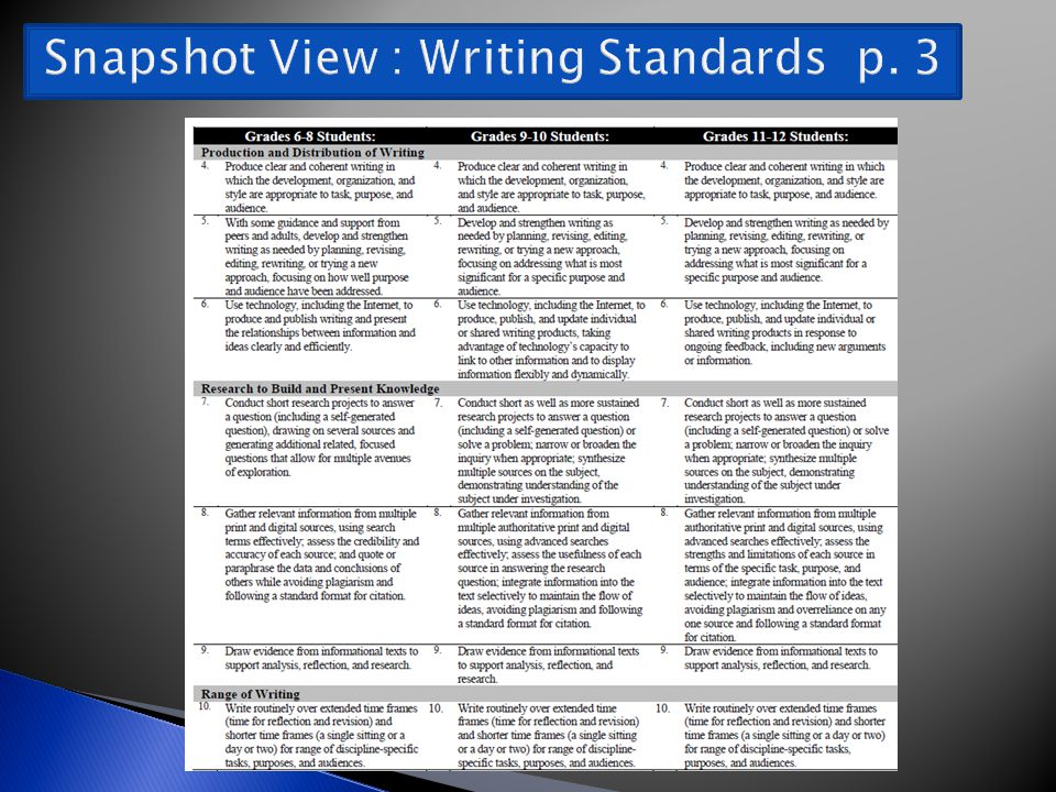 Snapshot View : Writing Standards p. 3
