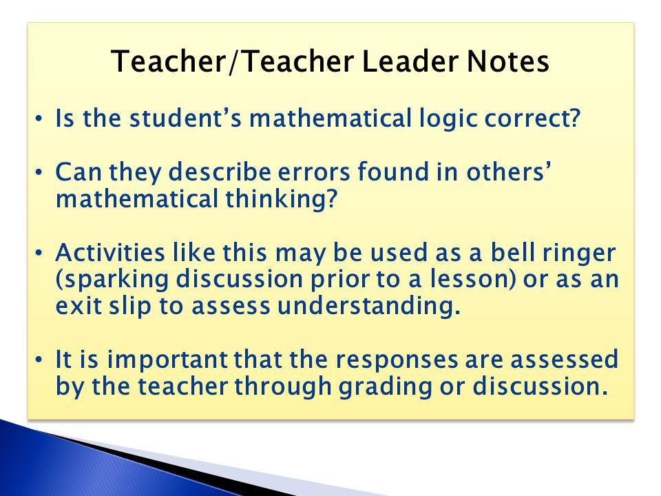 Teacher/Teacher Leader Notes