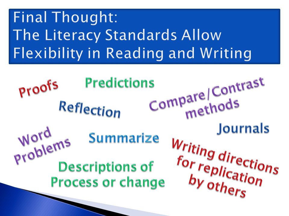 Final Thought: The Literacy Standards Allow Flexibility in Reading and Writing