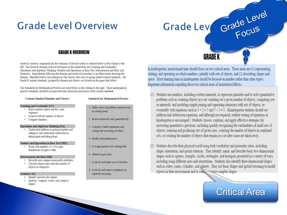 Grade Level Overview Grade Level Narrative Grade Level Focus