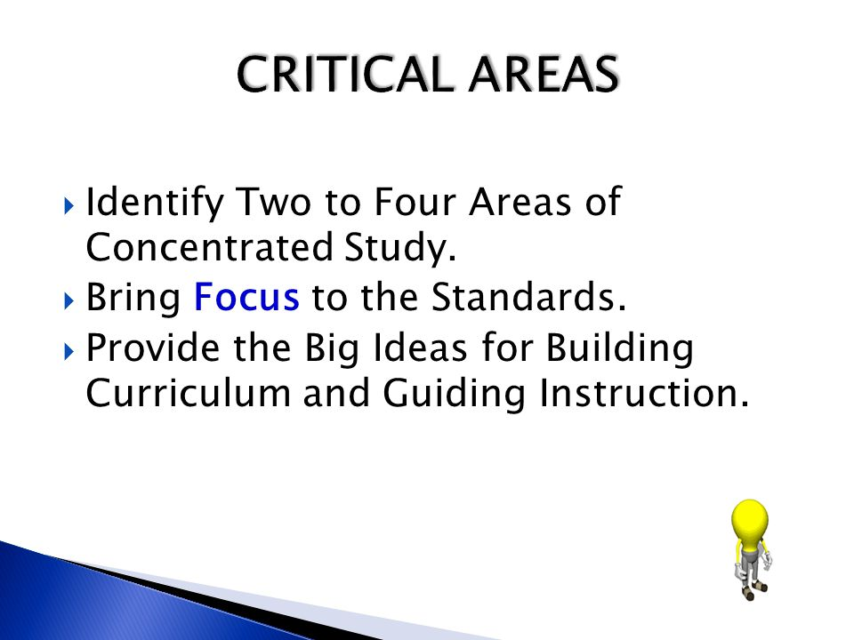 CRITICAL AREAS Identify Two to Four Areas of Concentrated Study.