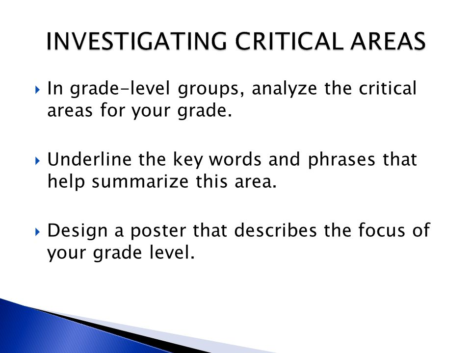 INVESTIGATING CRITICAL AREAS