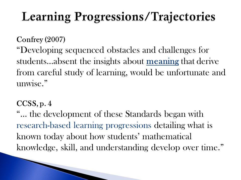 Learning Progressions/Trajectories