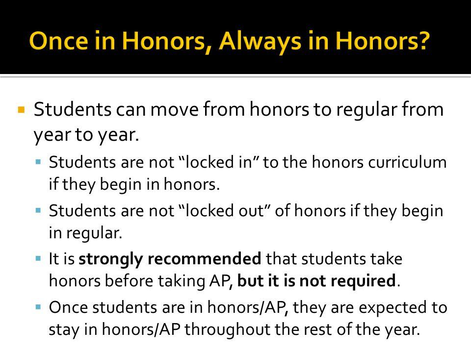 Once in Honors, Always in Honors