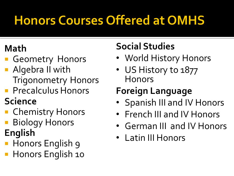 Honors Courses Offered at OMHS