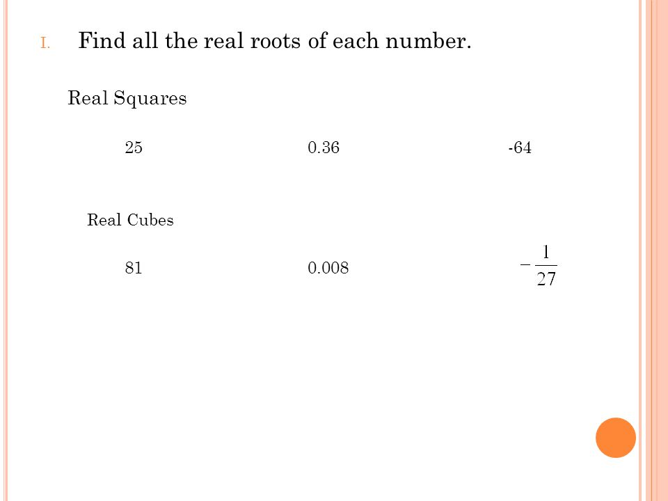Find all the real roots of each number.