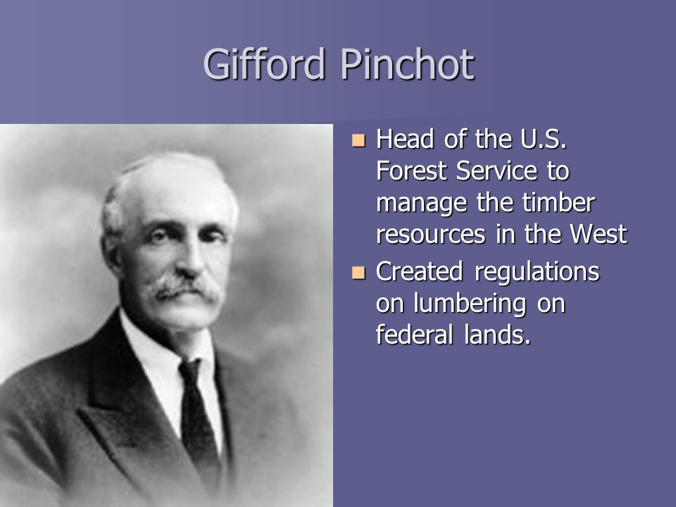 Gifford Pinchot Head of the U.S. Forest Service to manage the timber resources in the West.