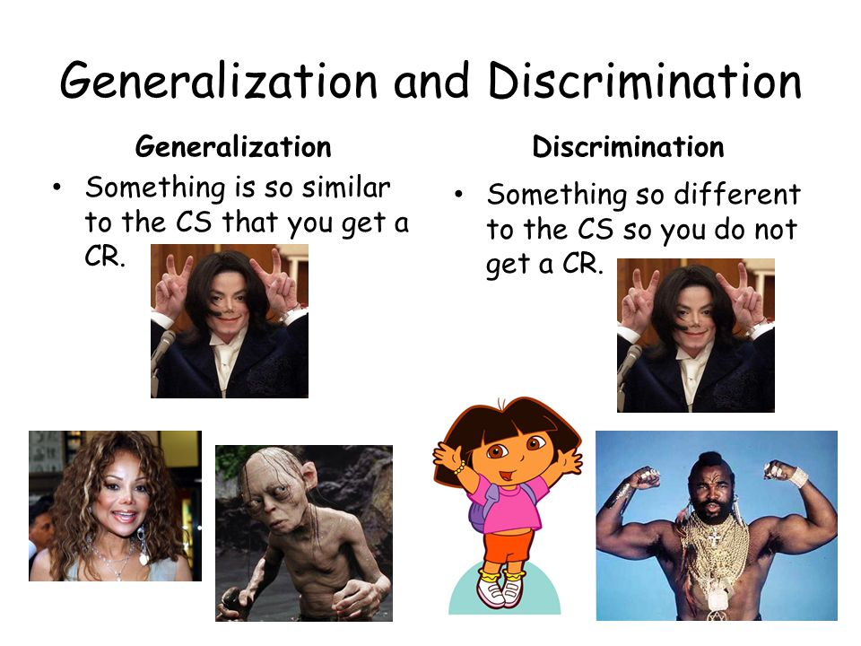 Generalization and Discrimination
