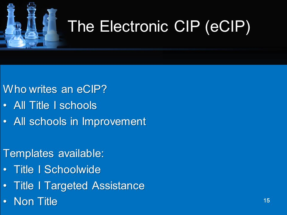 The Electronic CIP (eCIP)