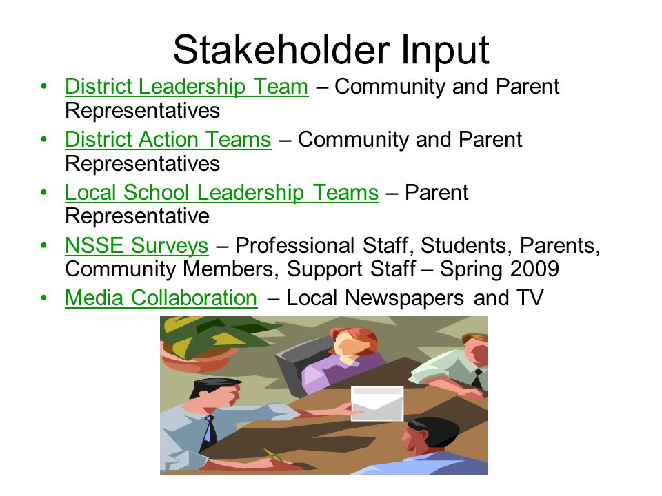 Stakeholder Input District Leadership Team – Community and Parent Representatives. District Action Teams – Community and Parent Representatives.