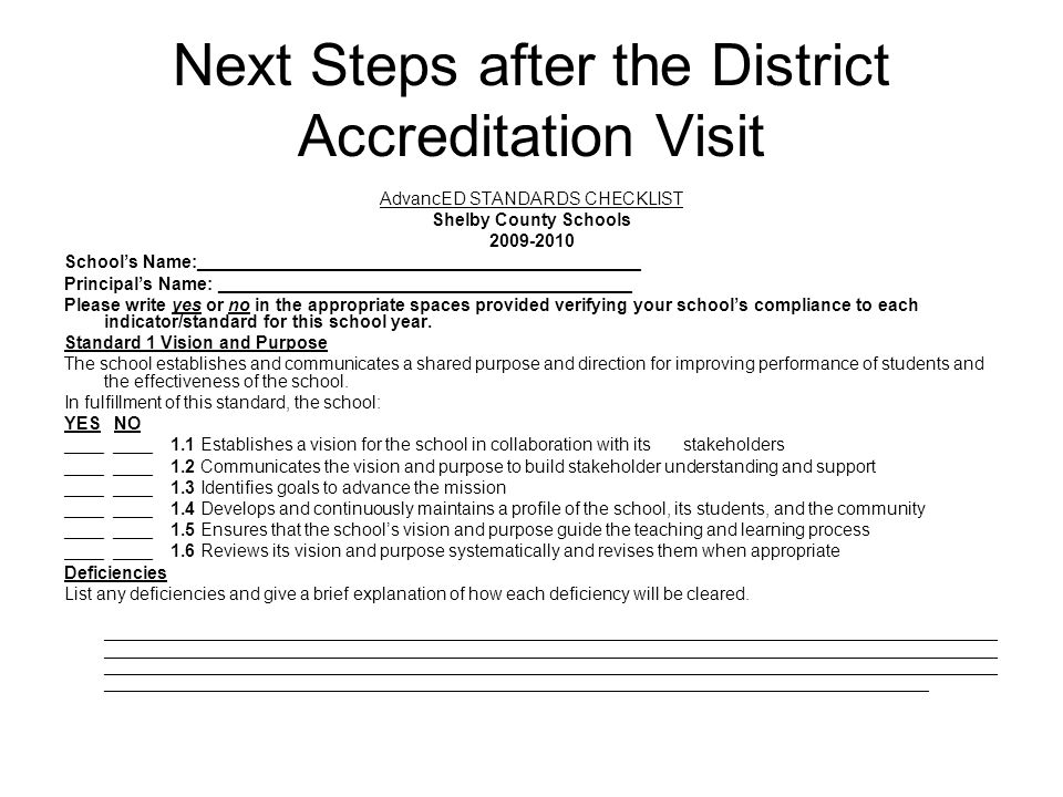 Next Steps after the District Accreditation Visit