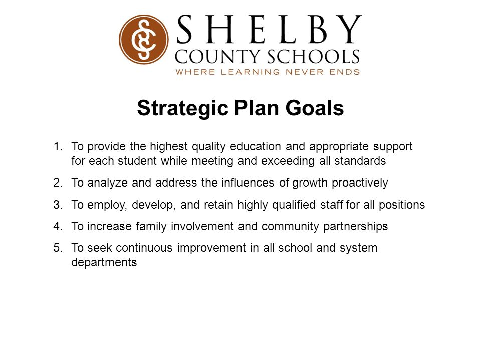 Strategic Plan Goals To provide the highest quality education and appropriate support for each student while meeting and exceeding all standards.