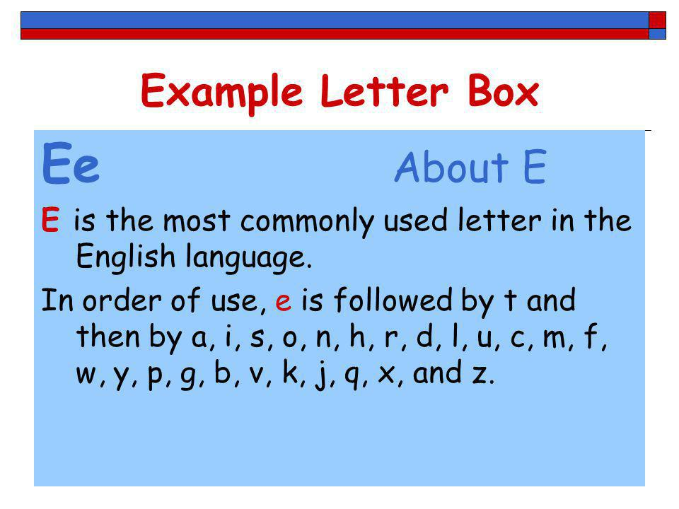 Ee About E Example Letter Box