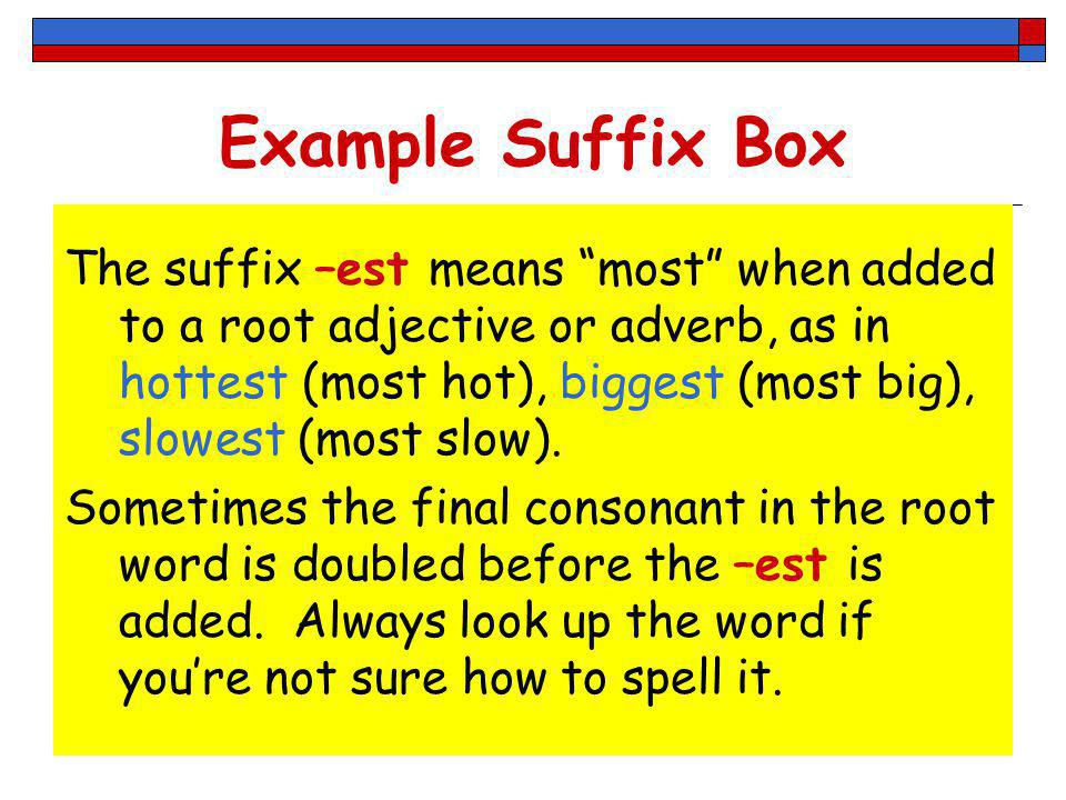 Example Suffix Box