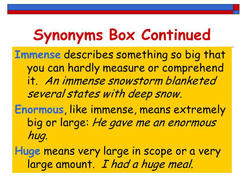 Synonyms Box Continued