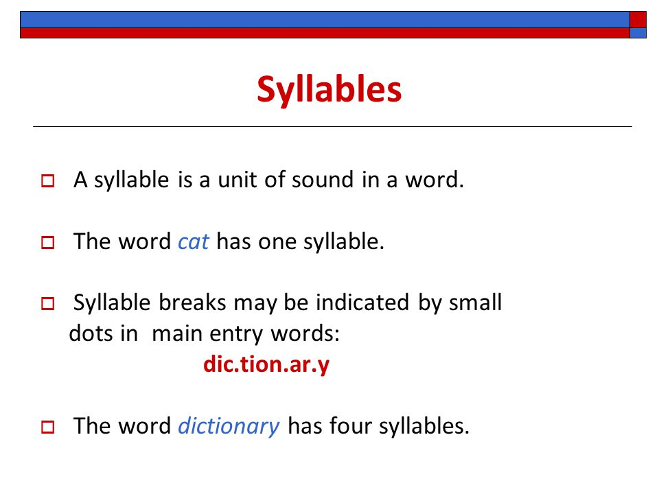 Syllables A syllable is a unit of sound in a word.