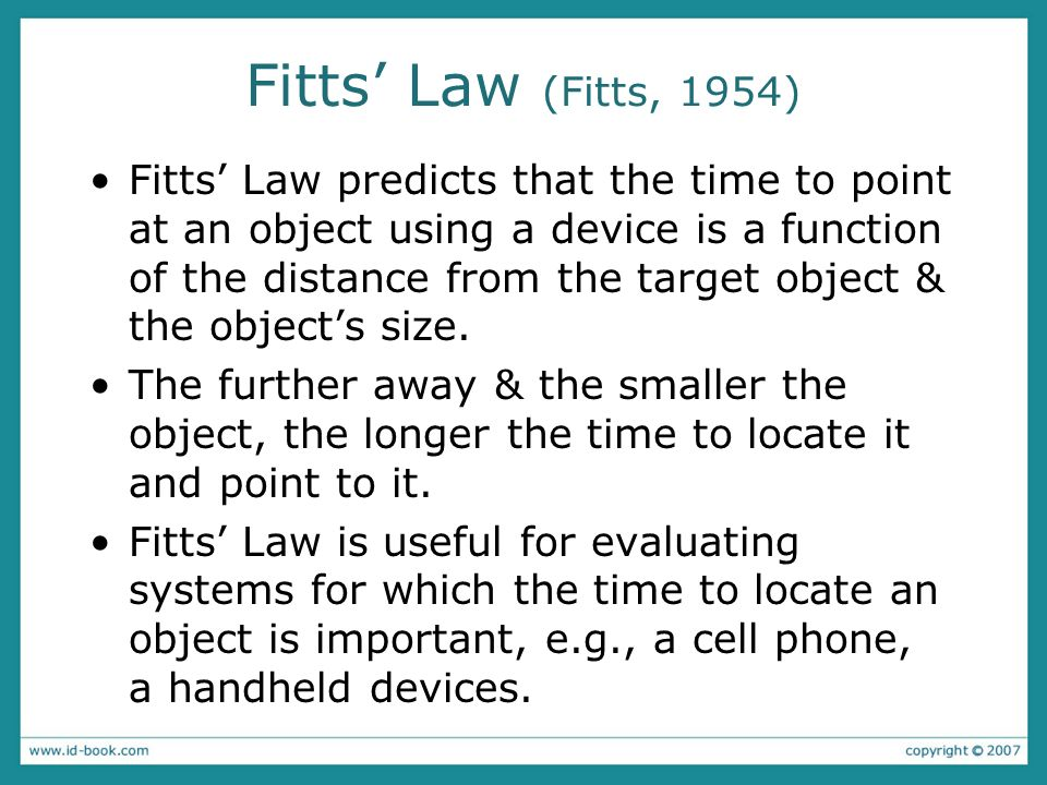 Fitts' Law (Fitts, 1954)