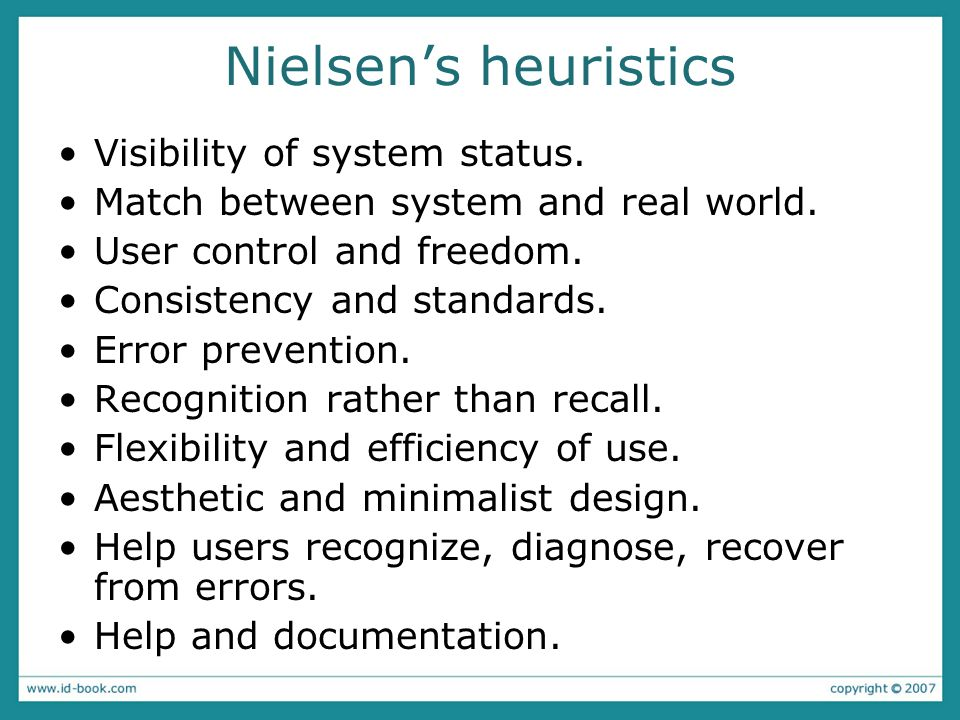 Nielsen's heuristics Visibility of system status.
