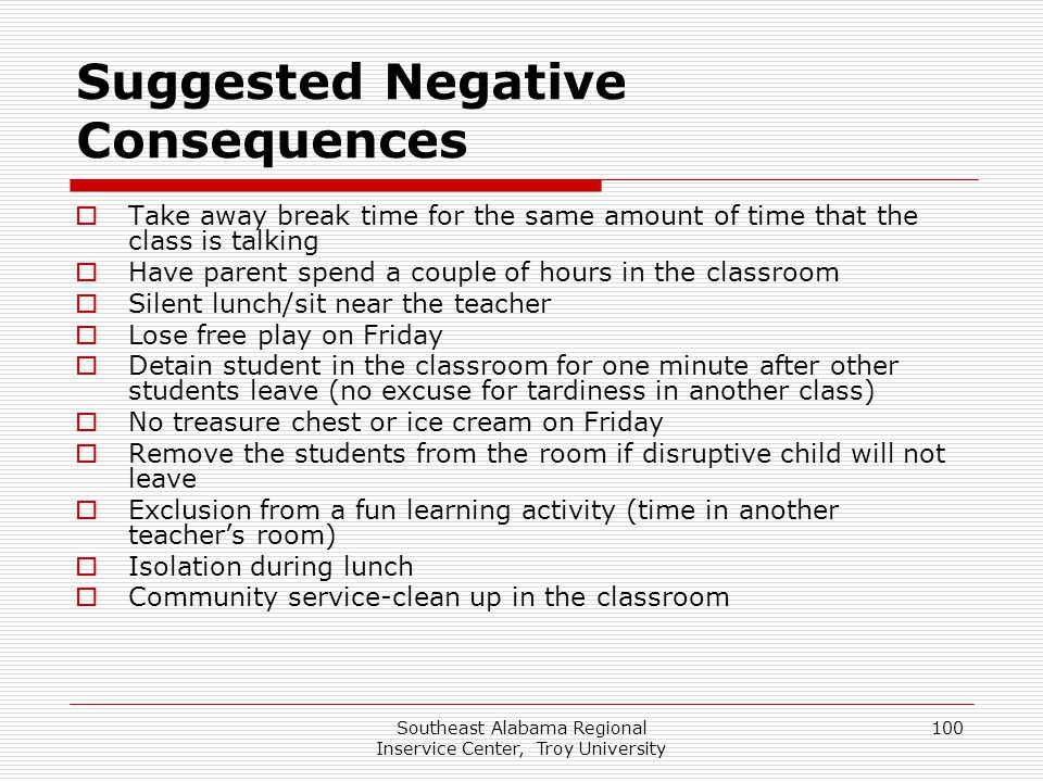 Suggested Negative Consequences