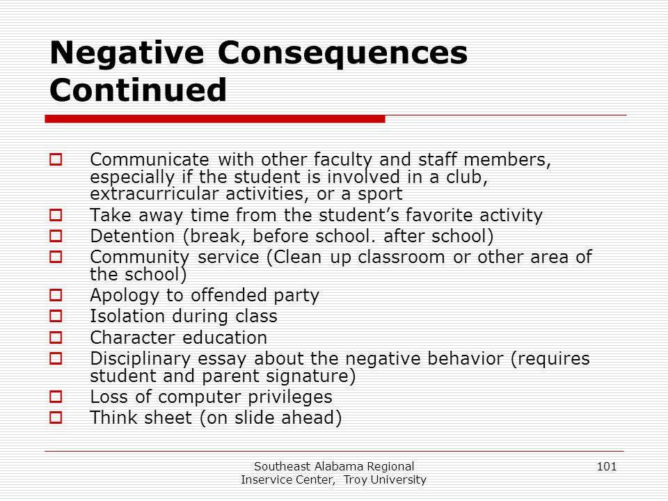 Negative Consequences Continued