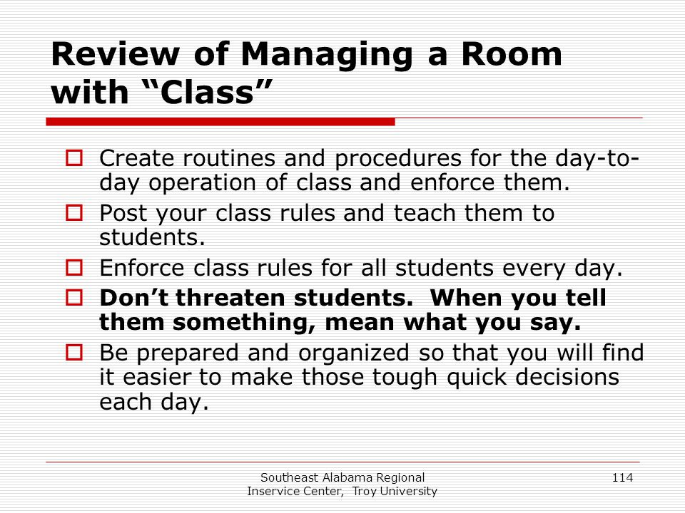 Review of Managing a Room with Class