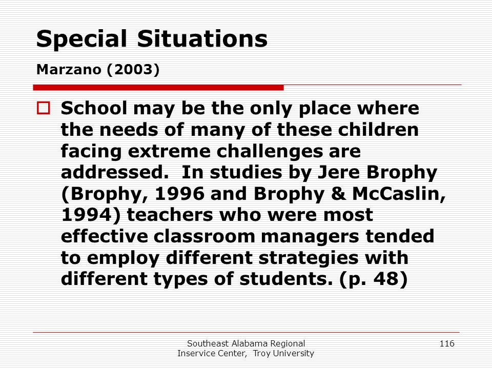 Special Situations Marzano (2003)