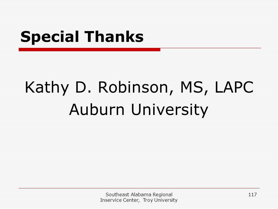 Kathy D. Robinson, MS, LAPC Auburn University