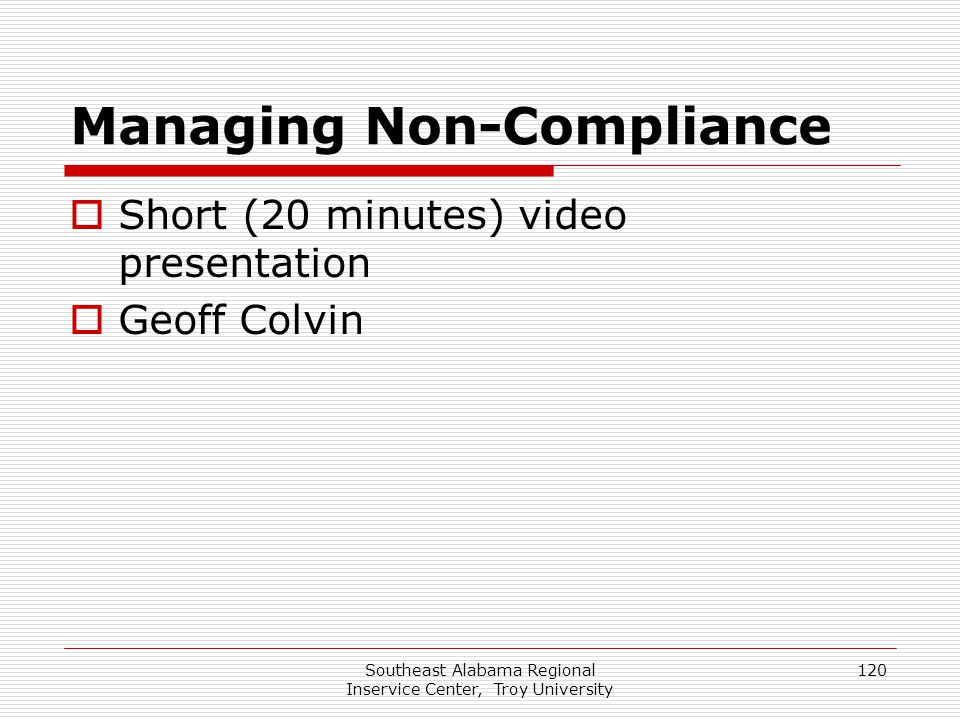 Managing Non-Compliance