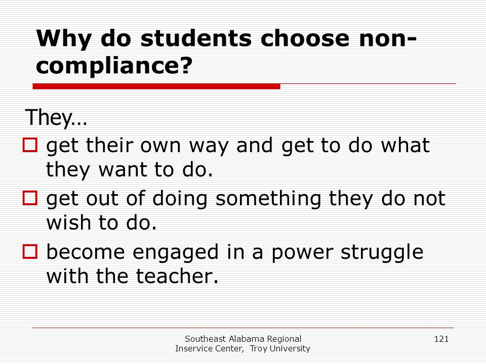 Why do students choose non-compliance