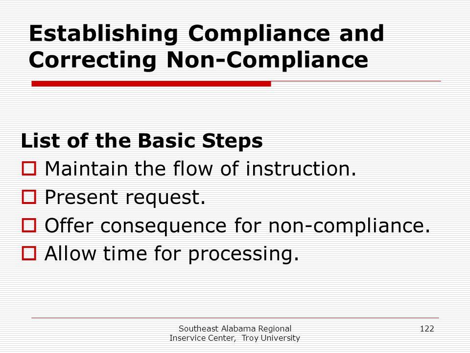 Establishing Compliance and Correcting Non-Compliance