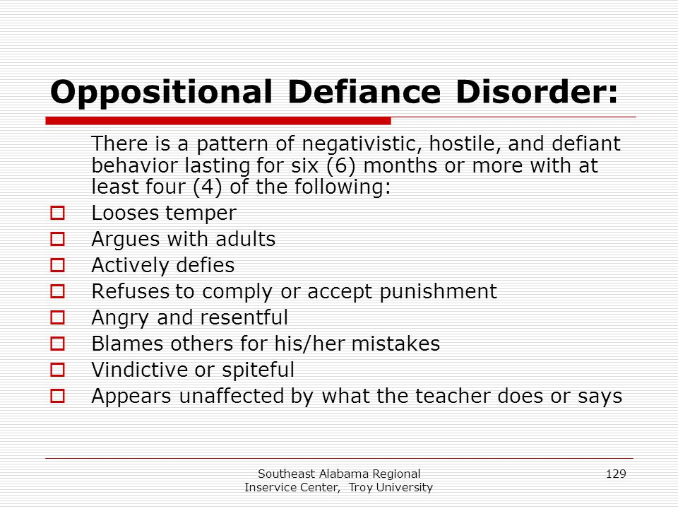 Oppositional Defiance Disorder: