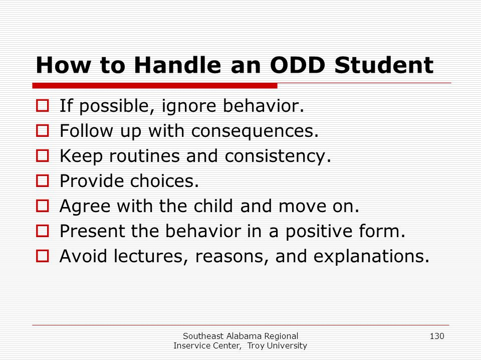 How to Handle an ODD Student