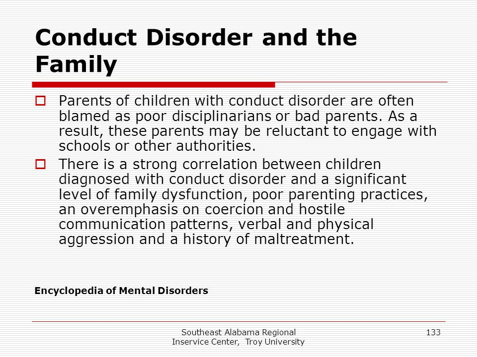Conduct Disorder and the Family