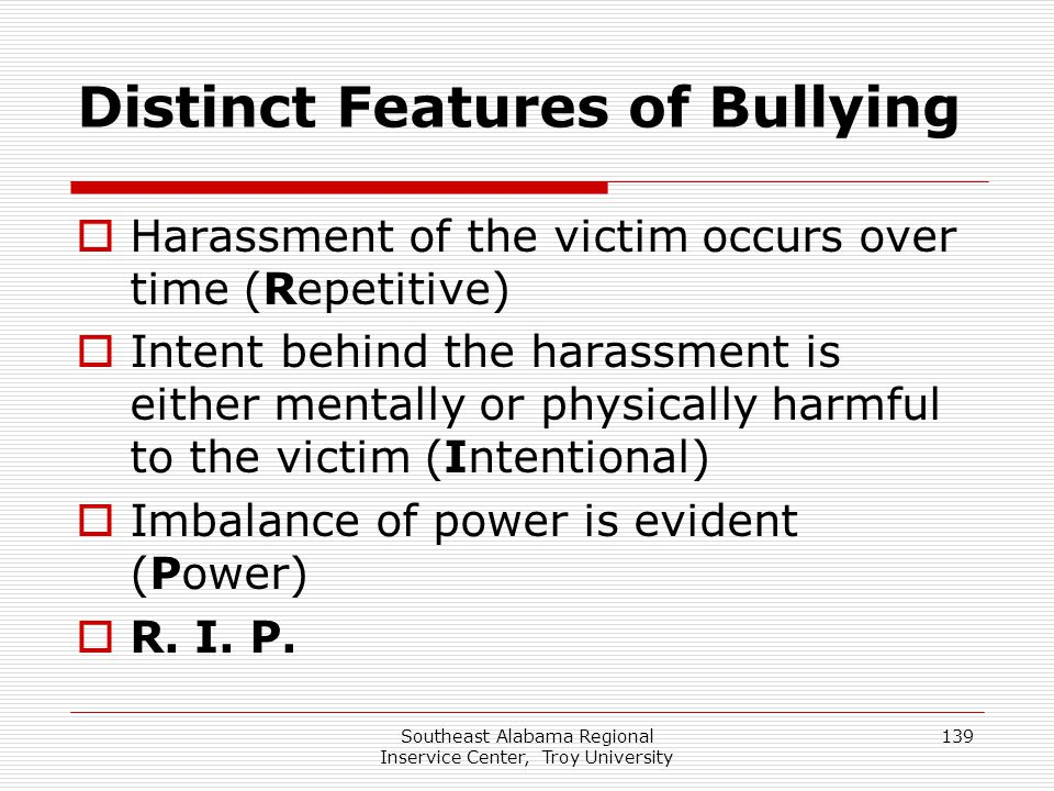 Distinct Features of Bullying