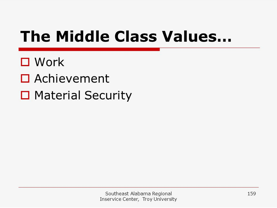 The Middle Class Values…