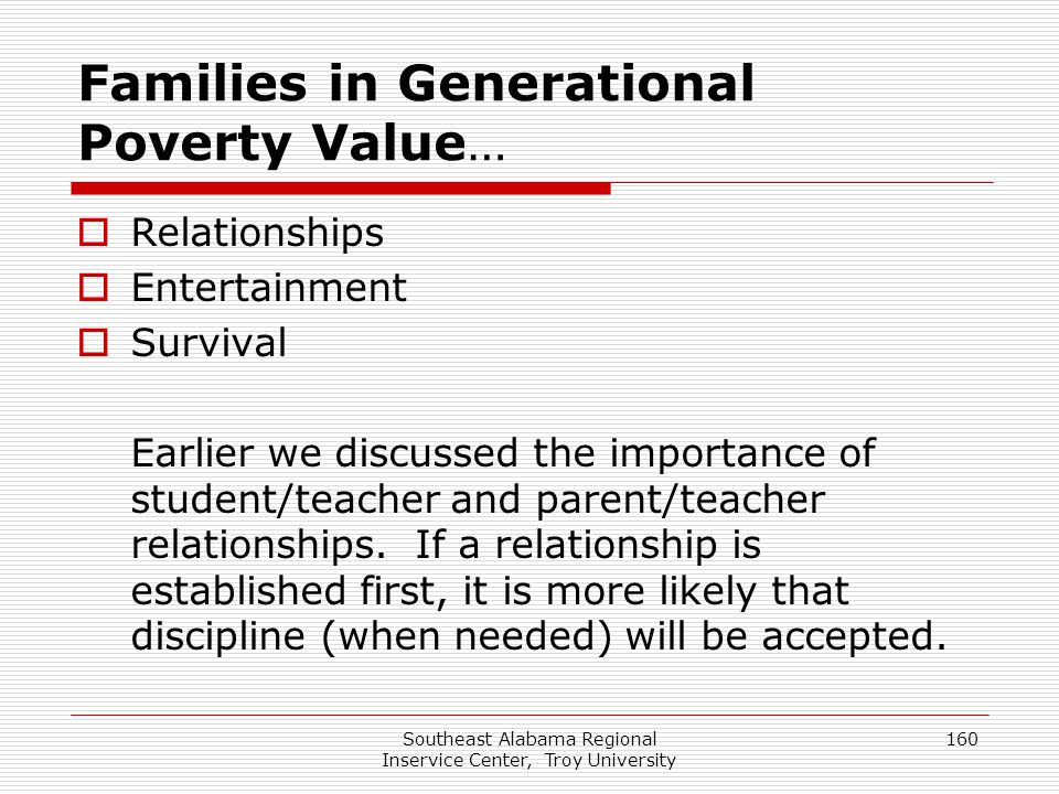 Families in Generational Poverty Value…