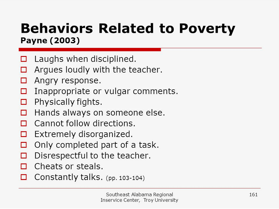 Behaviors Related to Poverty Payne (2003)