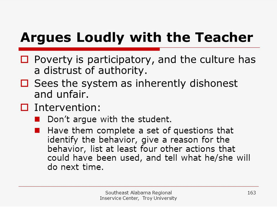 Argues Loudly with the Teacher